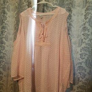 Long sleeved sheer pull on blouse